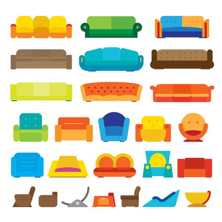 couches: Vector illustration of various flat design couches.