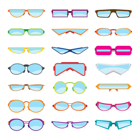 eyewear fashion: Vector illustrations of various flat-style eyeglasses, or glasses, or spectacles. Illustration