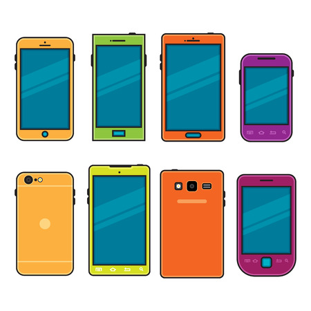 handheld device: cartoon illustration of flat-style cellphones or phones. Illustration