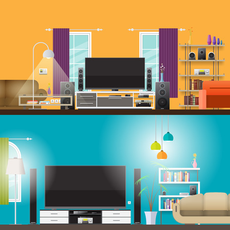 home products: scene illustration of two living rooms. Illustration