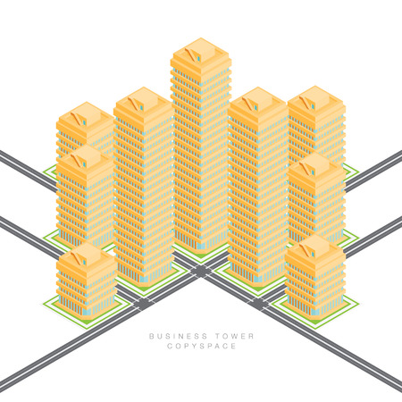 business buildings: isometric cartoon illustration of business commercial buildings.