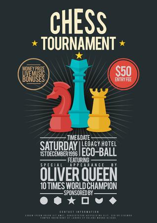 template illustration of chess tournament poster design element. Ilustracja