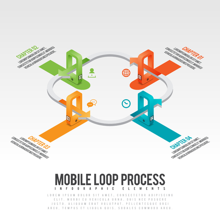 graphical chart: isometric illustration of mobile loop process infographic design element.