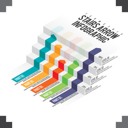 graphical chart: isometric illustration of stairs arrow infographic design element.