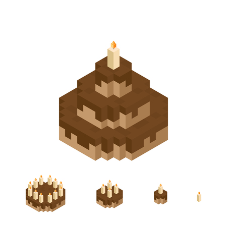 broken down: isometric pixelated illustration of chocolate cake, with broken down levels.