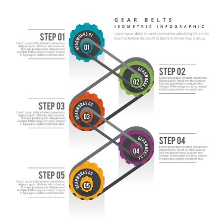 等尺性歯車ベルト インフォ グラフィック デザイン要素のイラスト。