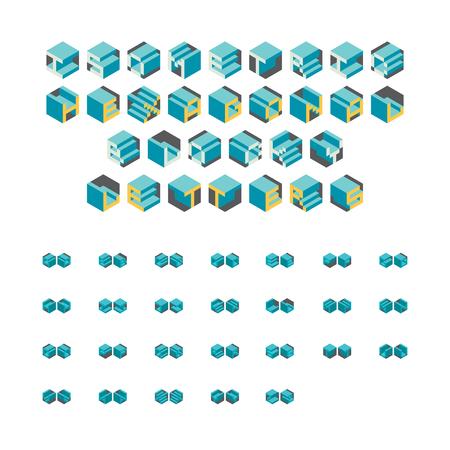 blocky: Alphabet letters set of isometric hexagonal blocks.