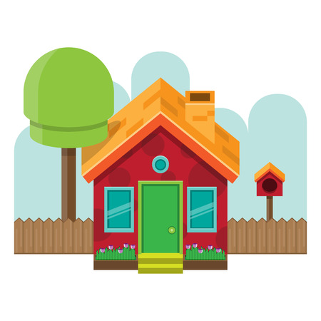 frontal: illustration of frontal isometric simple house.