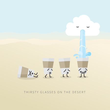 waterless: Thirsty glasses looking for water on the desert. Illustration