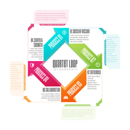 looping: illustration of quartet looping infographic design element.