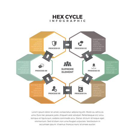 textspace: illustration of hex cycle infographic design element. Illustration