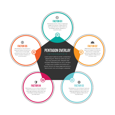 factors: Vector illustration of pentagon overlay infographic design element.