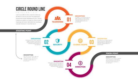 circle design: Vector illustration of circle round line infographic design element. Illustration