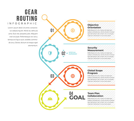 Vector illustration of gear routing infographic design element.