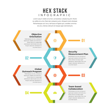 Vector illustration of hex stack infographic design element.