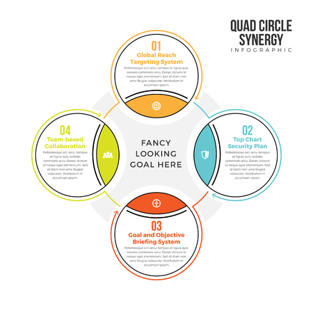 Vector illustration of quad circle synergy infographic design element.