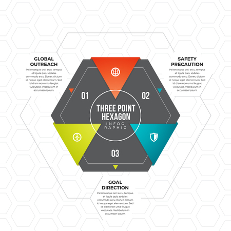 three points: Vector illustration of three point hexagon infographic design element.