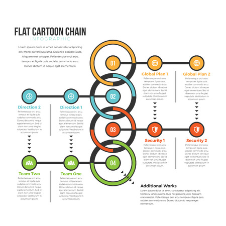 loops: Vector illustration of flat cartoon chain infographic design element.