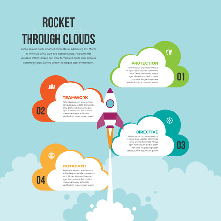 Vector infographic design element illustration of rocket or spaceship launches through the clouds. Stock Illustratie