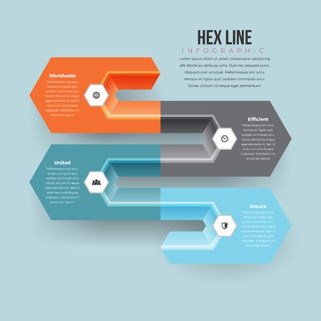 conceptual: Vector illustration of hex line infographic design element.