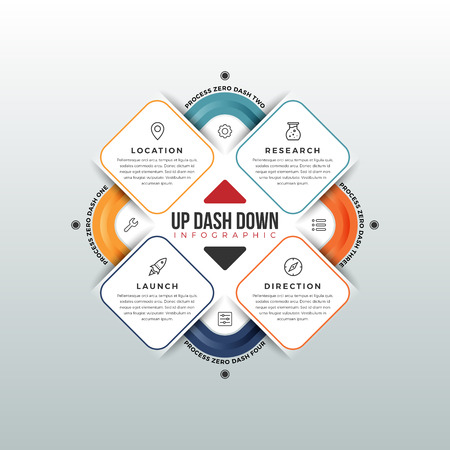Vector illustation of up dash down infographic design element.