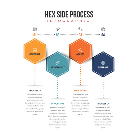 conceptual: Vector illustration of hexagonal shapes in process infographic design element.