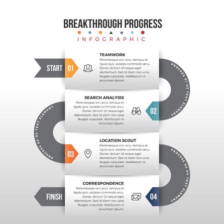 waypoint: Vector illustration of breakthrough progress infographic design element.