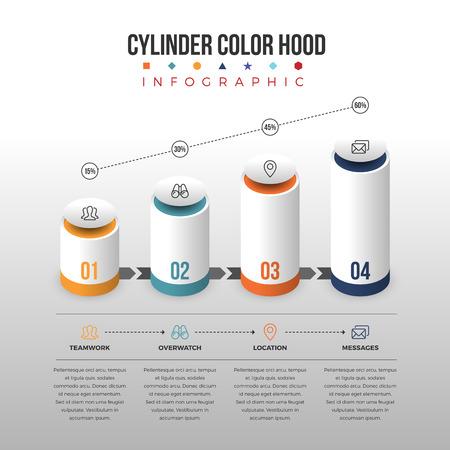 waypoint: Vector illustration of cylinder color hood infographic design element.