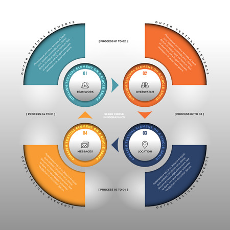 sleek: illustration of sleek circle infographic design element. Illustration