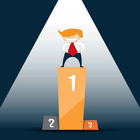 alone person: illustration of a white blonde businessman as a lone winner alone on a podium. Illustration