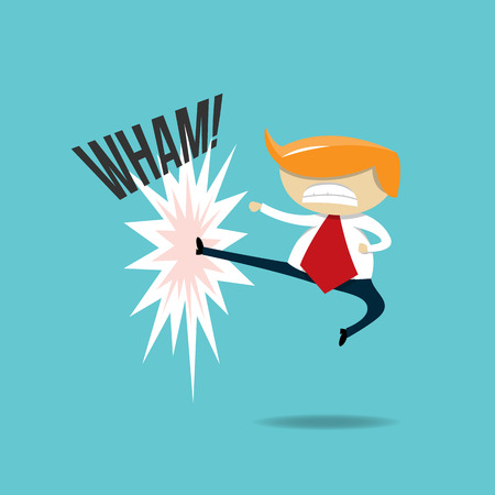 illustration of a blond white businessman kicking. Illustration