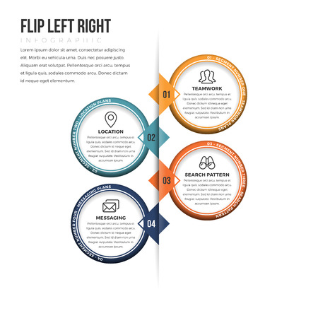 left right: illustration of flip left right infographic design element.