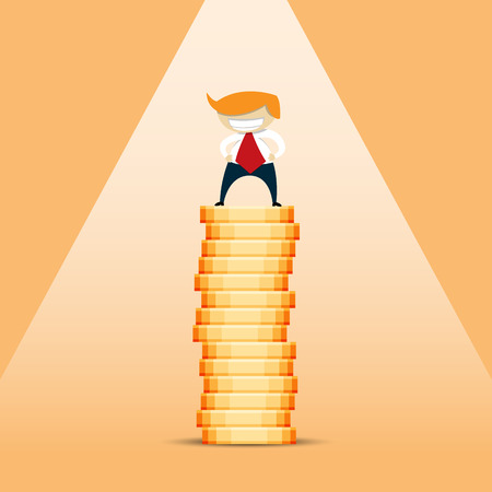 showoff: cartoon illustration of a rich blonde businessman standing on a tall stack of gold coins.