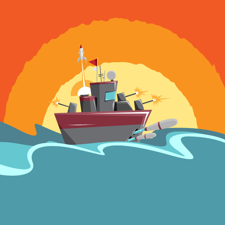 firing: cartoon illustration of a warship firing all its weapons.