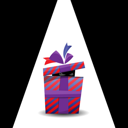 illustration of a dark figure peeking and sneaking inside a gift present. Illustration