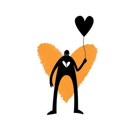 illustration of a dark figure with a broken heart holding a heart balloon. Illustration