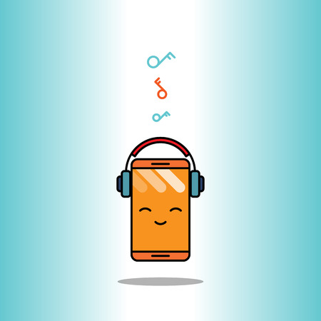 cartoon illustration of a happy phone with headphone listening to music. Illustration