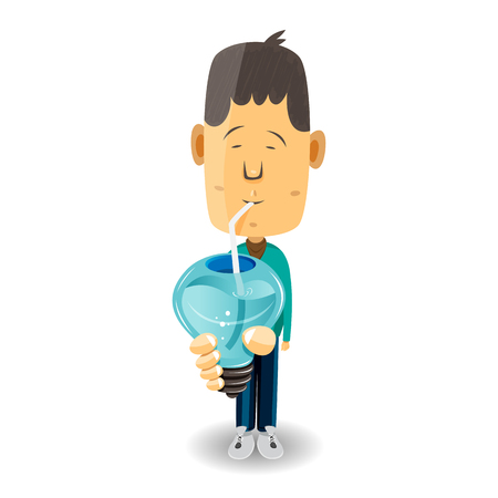 suck: cartoon illustration of a male creative sipping a light bulb drink. Illustration
