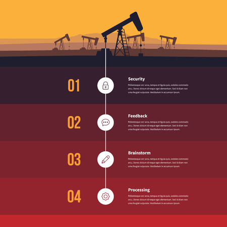 drill: Vector illustration of fossil fuel energy infographic design element.