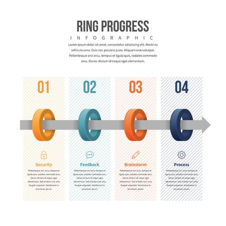 textspace: Vector illustration of ring progress infographic design element.