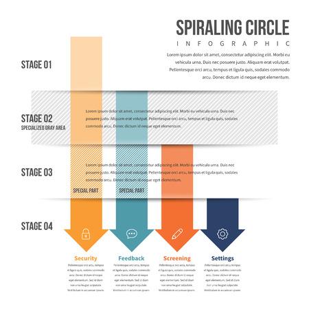 textspace: Vector illustration of arrow downward stack infographic design element. Illustration