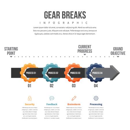 breaks: Vector illustration of gear breaks infographic design element.