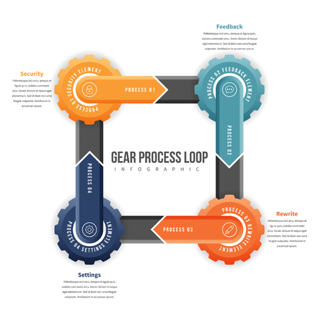 textspace: Vector illustration of gear process loop infographic design element.