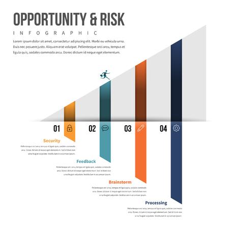 Ilustración vectorial de la oportunidad y el elemento de diseño infográfico de riesgo.