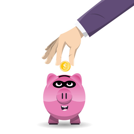 Vector illustration of a hand inserting a gold coin into a thiefing piggy bank. Stock Illustratie