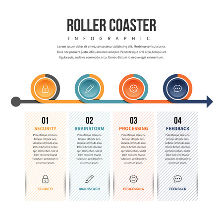 conceptual: Vector illustration of roller coaster infographic design element. Illustration