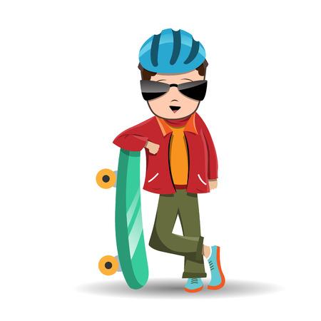 彼のスケート ボードを持つ少年のベクトル漫画イラスト  イラスト・ベクター素材