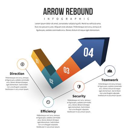 rebound: Vector illustration of arrow rebound infographic design element.