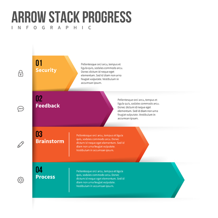 graphical chart: Vector illustration of arrow stack progress infographic design element.