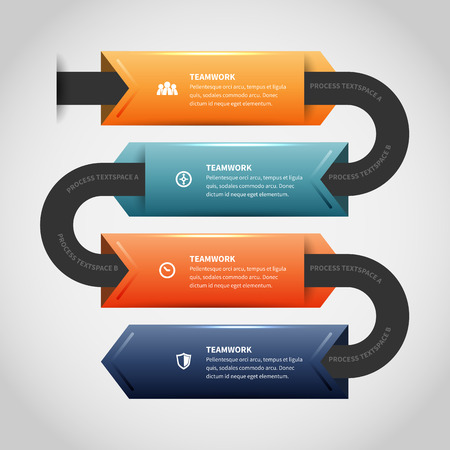 Vector illustration of arrow clips infographic design element. Illustration